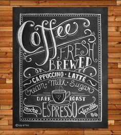 Coffee Love Chalkboard Art Print - 11x14