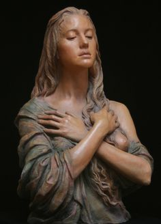This sculpture was sculpted by Anna and painted by Jeff. This is one of Anna& series of Magdalenas. There is terra cotta version and a bronze version. Mary Magdalene And Jesus, Traditional Sculptures, Lady Of Lourdes, Sculpture Head, Madonna And Child, Sacred Art, Religious Art, Portrait, Erotic Art