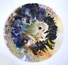 """Blackhole"" paint on wood part of the serie Skyworlds"