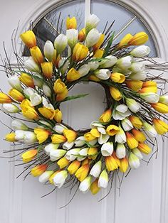 Breath of Sunshine Yellow and White Faux Silk Tulip Floral Wreath for A Protected Front Door Comes with Door Wreath Hanger Interior Summer Decor Diy Spring Wreath, Diy Wreath, Wreath Hanger, Wreath Ideas, Door Wreaths, Tulip Wreath, Floral Wreath, Thrifty Decor Chick, Rose Garland
