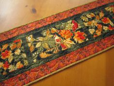 """Fall Quilted Table Runner Birds and Leaves Handmade Home Decor 12"""" x 46"""" patchworkmountain.com"""