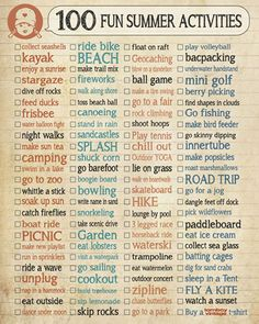 100 Fun Summer Activities Checklist