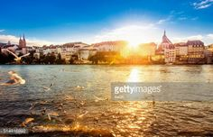 Sunset on a beautiful winter day at the river Rhein in Basel... #basel: Sunset on a beautiful winter day at the river Rhein in… #basel