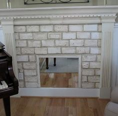 Faux Fireplace with brick pavers Fireplace Cover Up, Faux Fireplace, Fireplace Mantels, Fireplaces, Fireplace Ideas, Brick Pavers, Master Bedroom, Diy Projects, Diy Crafts