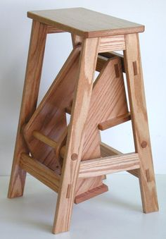 1600 wood plans - The Sorted Details: Folding Step Stool - Free Plan Woodworking Drawings - Get A Lifetime Of Project Ideas and Inspiration! Wooden Projects, Furniture Projects, Furniture Plans, Diy Furniture, Furniture Design, Chair Design, System Furniture, Furniture Buyers, Inexpensive Furniture