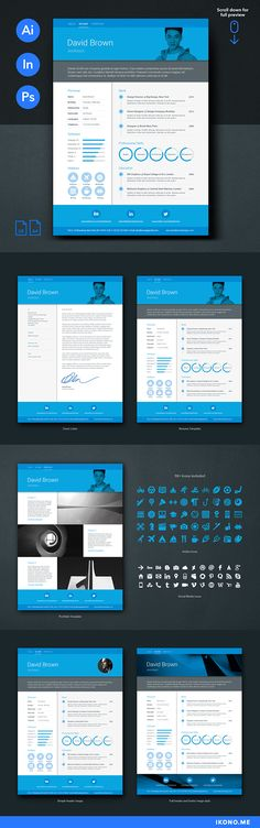 Material Resume Templates Blue Package