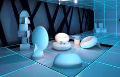 TRON futuristic furniture white living room