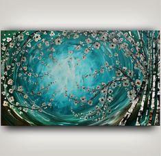 Pintura textura pesada turquesa de arte por ContemporaryArtDaily