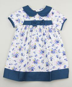 Loving this Blue Floral Bow Dress - Infant, Toddler & Girls on #zulily! #zulilyfinds