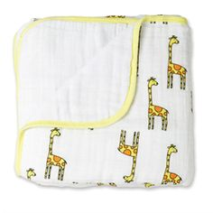 tall giraffes for your little baby - our cotton muslin dream blankets will keep your favorite wild one snugly
