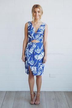 stylestalker blue jasmine v neck dress - blue  