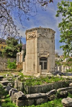 The Tower of the Winds, also called horologion (timepiece) is an octagonal Pentelic marble clocktower on the Roman agora in Athens