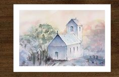 Original watercolor painting by JP Wisniewski, landscape painting, watercolor church (Saint Nicolas in Saint Nabor), french countryside, hand made painting Saint Nicolas, Landscape Artwork, How To Make Paint, French Countryside, Watercolor Paintings, Etsy, The Originals, Handmade, How To Paint