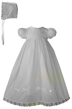 Embroidered White Cotton Christening Baptism Gown 12 >>> Read more reviews of the product by visiting the link on the image.