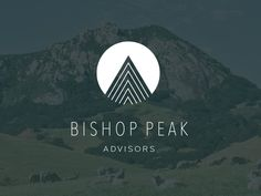 Bishop Peak. Simple, crisp logo against evocative but muted background photo. A corporate service provider with a strong design concept.
