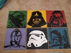 Star Wars Characters Acrylic Paintings: Darth by TheLittleGeekery Star Wars Zimmer, Cuadros Star Wars, Images Star Wars, Star Wars Bedroom, Star Wars Painting, Star Wars Decor, Star Wars Party, Love Stars, Star Wars Characters