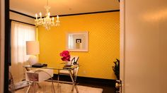 Jeff Lewis designed office. Pinned b/c of fab yellow wallpaper AND black trim for extra drama. Love black/dark floors as Jeff does. Wonder how he did inside of door since trim is black -  Black or white?