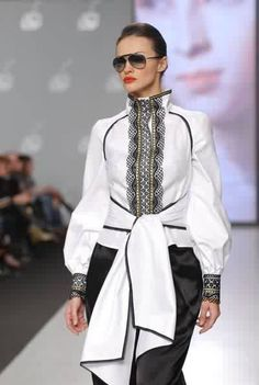 Modern interpretation of an embroidered jacket by Ukrainian fashion designer Roksolana Bogutska