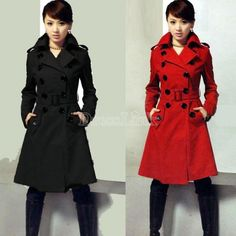 Women's Slim Double Breasted Coat Woolen Jacket Winter Long Coat Outerwear