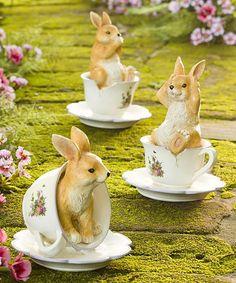 Look what I found on #zulily! Teacup Bunny Figurine Set #zulilyfinds