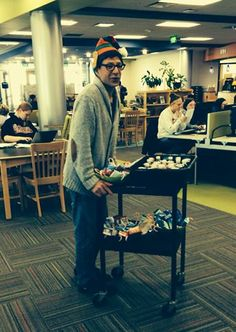 Madison College librarian, Mark, wheeled a cart around and offered treats to students during finals week, Fall 2013