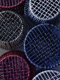 table ronde design en corde tressé en couleurs modernes Ziggy