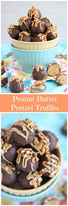 No Bake Peanut Butter Pretzel Truffles! Epic combo of sweet and salty! And epic combo of yummy and delicious! Best Dessert Recipes, Candy Recipes, Fun Desserts, Sweet Recipes, Cookie Recipes, Delicious Desserts, Peanut Butter Pretzel, Peanut Butter Recipes, Pretzel Bark