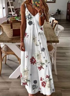 White Maxi Dresses, Maxi Dress With Sleeves, Sleeveless Dresses, Cotton Summer Dresses, Women's Dresses, Casual Maxi Dresses, Summer Casual Dresses, Party Dresses, Vintage Summer Dresses