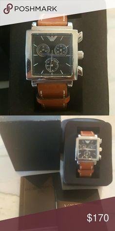 Emporio armani Orologi Square beveled watch with leather band Emporio Armani Accessories Watches