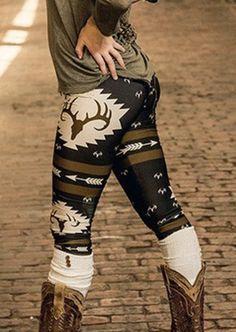 Fall Leggings with Deer print