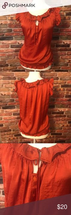NWT Dress Barn Burnt Orange Sleeveless Top size L NWT Dress Barn burnt orange Sleeveless Top. Ruffled neckline and ruffled sleeves. 2 buttons in the front and a tie above the buttons. 100% polyester. Dress Barn Tops Blouses