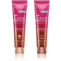 LOreal Paris Sublime Bronze Summer Express Wash-Off Body Makeup Lotion, Medium, 3.55 Fluid Ounce : Beauty