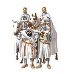 Caballeros de la Orden Militar de Montesa: al inicio, el emblema de la Orden sería una simple cruz roja sobre un manto blanco, así es como sería aprobada por Clemente VII en 1397, pero ocurrió que a la de Montesa se fusionaría la de San Jorge de Alfama que tenía como emblema una cruz rematada con flores de Lis, y así es que de la fusión nació el emblema definitivo de la cruz roja rematada por cuatro flores de lis negras que concedió Benedicto XIII y confirmó Martín V.