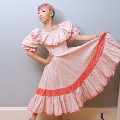 Vintage Baby Pink Mexican Ruffle Dress  Lolita  Square by Shrinkle