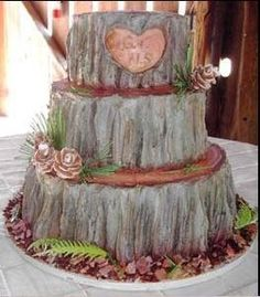 need to find someone who can do a cake like this! tree stumps, cake idea, camo wedding, tree trunks, country weddings, rustic weddings, groom cake, rustic wedding cakes, country wedding cakes