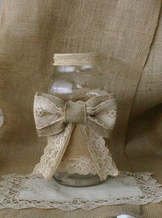 Burlap centerpieces for weddings, flower vase, shabby chic, rustic chic, country chic, french country.