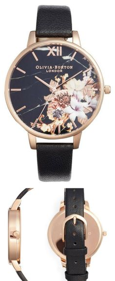 cb8d425eaafb OLIVIA BURTON Marble Floral Leather Strap Watch