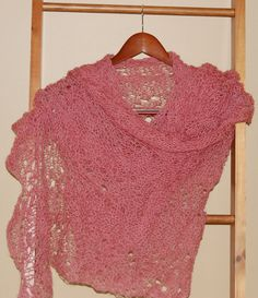 SALE - Hand-knit Shawl Scarf - Rose Lace. $49.00, via Etsy.