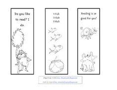Free printable Seuss bookmarks to color!   SecondGradeSquad.com ...