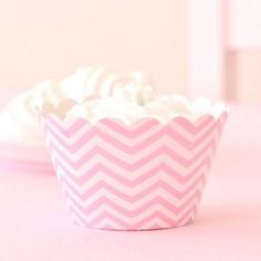 Chevron Pink Cupcake Wrappers