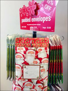 This stock point-of-purchase display allows custom positioning of hooks to merchandise product in any number of widths and packages sizes. Centrifugal Force, Point Of Purchase, Retail Merchandising, Hanukkah, Hooks, Counter, Envelope, Gift Wrapping, Christmas