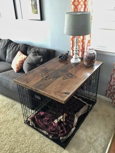 This Diy Dog Crate Furniture Piece Will Transform Your Living ; ce meuble de cage à chien bricolage transformera votre vie ; Dog Crate Table, Dog Crate Furniture, Diy Dog Crate, Diy Furniture, Wood Dog Crate, Crate Bed, Furniture Cleaning, Furniture Storage, Furniture Projects