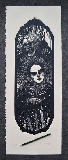 Xilogravura / Woodcut print Ramon Rodrigues 28,5 x 76 cm