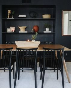 Dining Room Design, Dining Area, Target Coffee Table, World Market Chair, Los Angeles Apartments, Blue Accent Walls, Hm Home, Black Dining Chairs, Interior Design