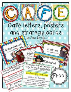 Cafe letters, posters and strategy cards pages) - This pack includes letters for CAFE, posters and strategy cards! Cafe Reading Strategies, Reading Lessons, Teaching Reading, Teaching Tools, Teaching Ideas, Teaching Resources, Daily 5 Reading, 2nd Grade Reading, Guided Reading