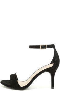 Lover Black Suede Ankle Strap Heels