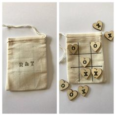 Mini tic tac toe quiet game and wedding favors for guests at your reception