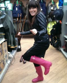 Kelly rocking her in the South Molton branch of Hunter Wellies, Wellies Rain Boots, Hunter Boots, Wellington Boot, Store, Fashion, Iphone Wallpapers, Fotografia, Boots