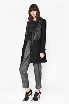 Moto Leather Wool Coat - French Connection. A coat, not a jacket, but so chic.
