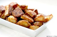 """Ingredients: (Serves 2-3)   3-4 medium red potatoes, cut into small wedges   3 TBS olive oil   1/3 C parmesan cheese (fresh is great, but can use""""shaker parm"""")   1 1/2 tsp garlic salt   1 tsp paprika   sea salt to taste  Preheat the oven to 425 F.   Bake for about 25 minutes then remove from oven and turn over all the potatoes. Put them back in the oven for another 10 or 15 minutes until they're sufficiently crispy and divine"""